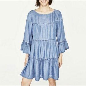 Zara Woman Denim Ruffle Tiered Dress
